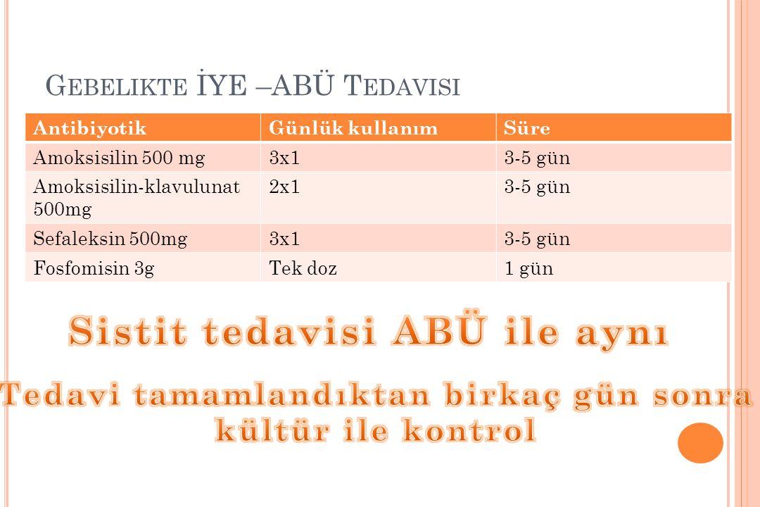 G EBELIKTE İYE –ABÜ T EDAVISI AntibiyotikGünlük kullanımSüre Amoksisilin 500 mg3x13-5 gün Amoksisilin-klavulunat 500mg 2x13-5 gün Sefaleksin 500mg3x13