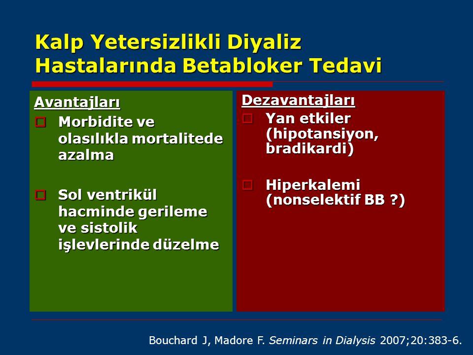 Kalp Yetersizlikli Diyaliz Hastalarında Betabloker Tedavi Avantajları  Morbidite ve olasılıkla mortalitede azalma  Sol ventrikül hacminde gerileme v