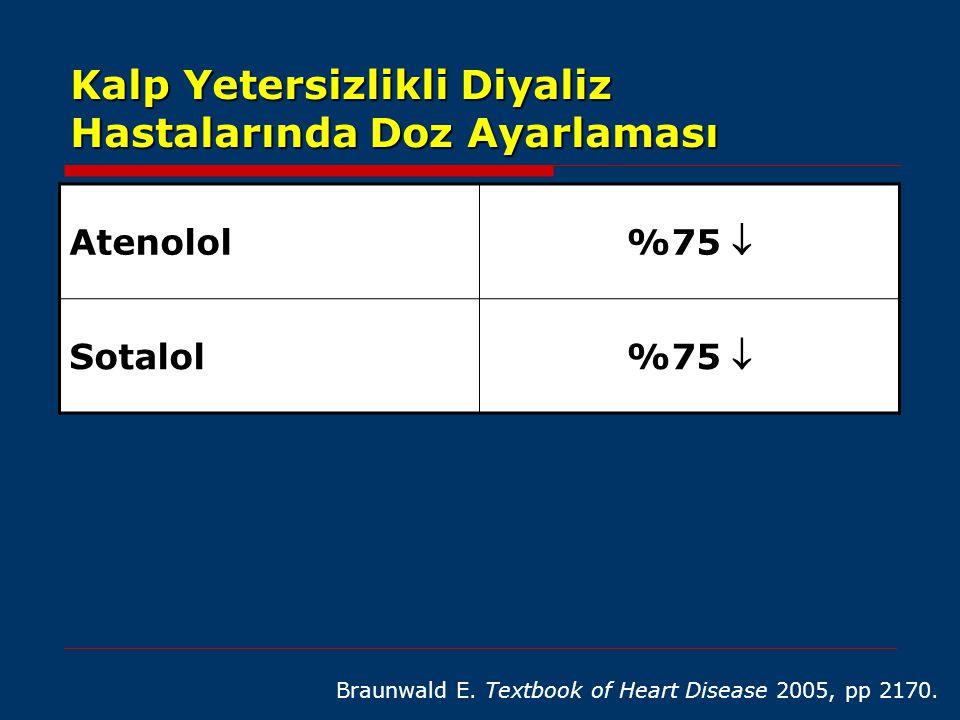 Kalp Yetersizlikli Diyaliz Hastalarında Doz Ayarlaması Braunwald E. Textbook of Heart Disease 2005, pp 2170. Atenolol %75  Sotalol %75 