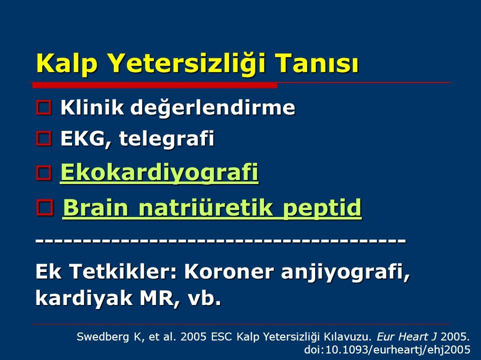 Kalp Yetersizliği Tanısı  Klinik değerlendirme  EKG, telegrafi  Ekokardiyografi  Brain natriüretik peptid ---------------------------------------