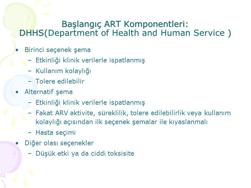 Başlangıç ART Komponentleri: DHHS( ) Başlangıç ART Komponentleri: DHHS(Department of Health and Human Service ) Birinci seçenek şema –Etkinliği klinik verilerle ispatlanmış –Kullanım kolaylığı –Tolere edilebilir Alternatif şema –Etkinliği klinik verilerle ispatlanmış –Fakat ARV aktivite, süreklilik, tolere edilebilirlik veya kullanım kolaylığı açısından ilk seçenek şemalar ile kıyaslanmalı –Hasta seçimi Diğer olası seçenekler –Düşük etki ya da ciddi toksisite