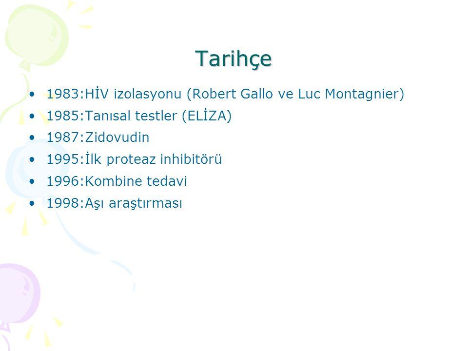 Tarihçe 1983:HİV izolasyonu (Robert Gallo ve Luc Montagnier) 1985:Tanısal testler (ELİZA) 1987:Zidovudin 1995:İlk proteaz inhibitörü 1996:Kombine tedavi 1998:Aşı araştırması