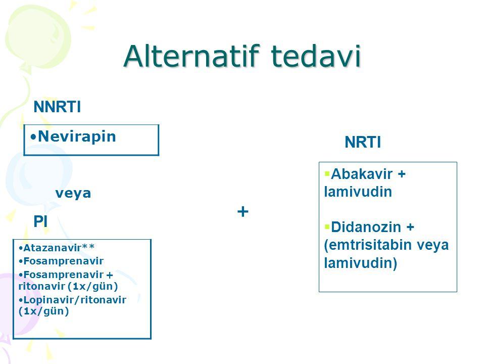 Alternatif tedavi Nevirapin NNRTI PI Atazanavir** Fosamprenavir Fosamprenavir + ritonavir (1x/gün) Lopinavir/ritonavir (1x/gün) NRTI  Abakavir + lamivudin  Didanozin + (emtrisitabin veya lamivudin) veya +