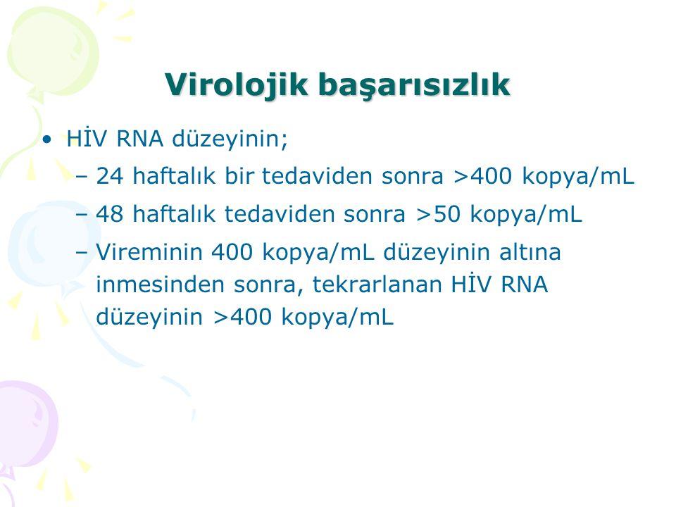 Virolojik başarısızlık HİV RNA düzeyinin; –24 haftalık bir tedaviden sonra >400 kopya/mL –48 haftalık tedaviden sonra >50 kopya/mL –Vireminin 400 kopya/mL düzeyinin altına inmesinden sonra, tekrarlanan HİV RNA düzeyinin >400 kopya/mL