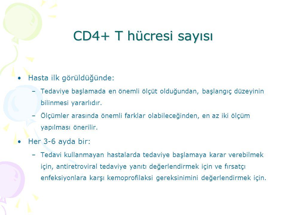 CD4+ T hücresi sayısı Hasta ilk görüldüğünde: –Tedaviye başlamada en önemli ölçüt olduğundan, başlangıç düzeyinin bilinmesi yararlıdır.