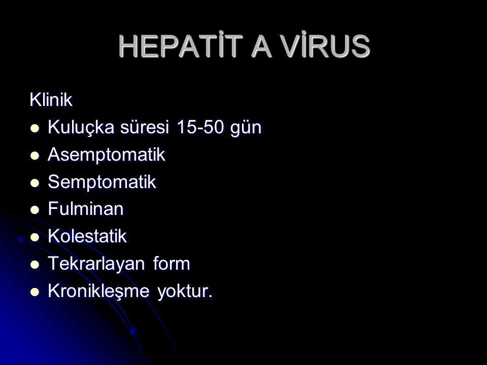 HEPATİT C VİRUS Tanı Bulaştan sonra, HCV-RNA 28 günde, anti-HCV 3 ayda olguların çoğunda saptanır Bulaştan sonra, HCV-RNA 28 günde, anti-HCV 3 ayda olguların çoğunda saptanırTedavi Akut dönemde IFN Akut dönemde IFN Kronik olgularda PegIFN+RIB bir yıl Kronik olgularda PegIFN+RIB bir yıl Aşı ve Ig preparatlarının korunmada yeri yoktur.