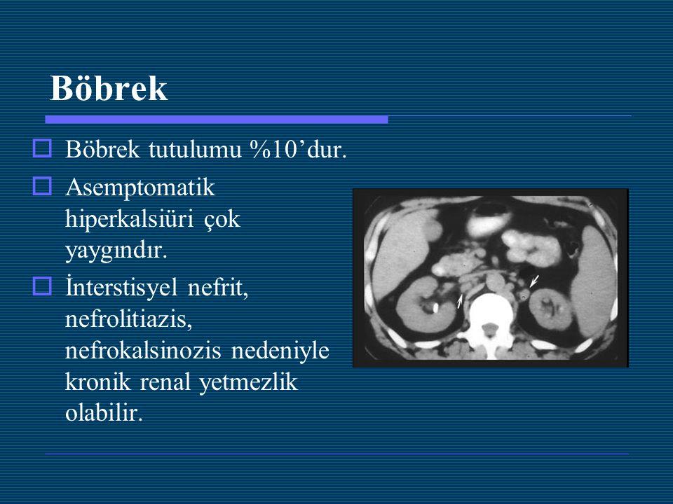 Böbrek  Böbrek tutulumu %10'dur.  Asemptomatik hiperkalsiüri çok yaygındır.  İnterstisyel nefrit, nefrolitiazis, nefrokalsinozis nedeniyle kronik r