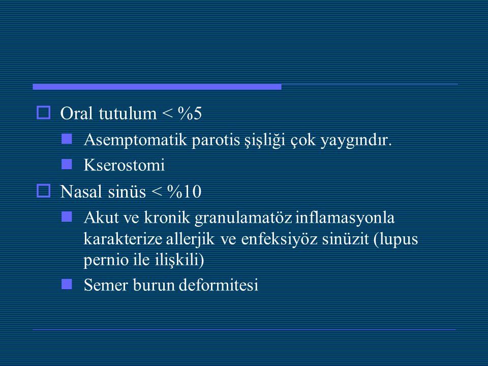  Oral tutulum < %5 Asemptomatik parotis şişliği çok yaygındır. Kserostomi  Nasal sinüs < %10 Akut ve kronik granulamatöz inflamasyonla karakterize a