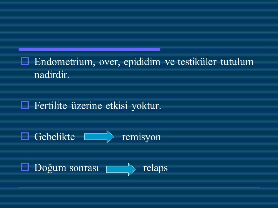  Endometrium, over, epididim ve testiküler tutulum nadirdir.  Fertilite üzerine etkisi yoktur.  Gebelikte remisyon  Doğum sonrası relaps