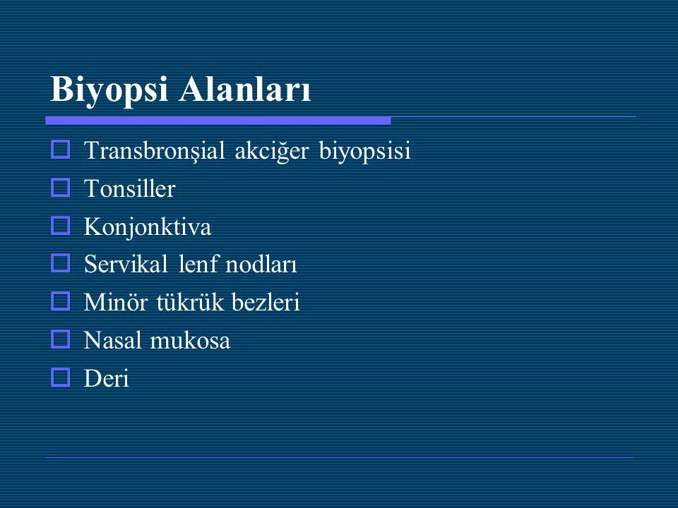 Biyopsi Alanları  Transbronşial akciğer biyopsisi  Tonsiller  Konjonktiva  Servikal lenf nodları  Minör tükrük bezleri  Nasal mukosa  Deri