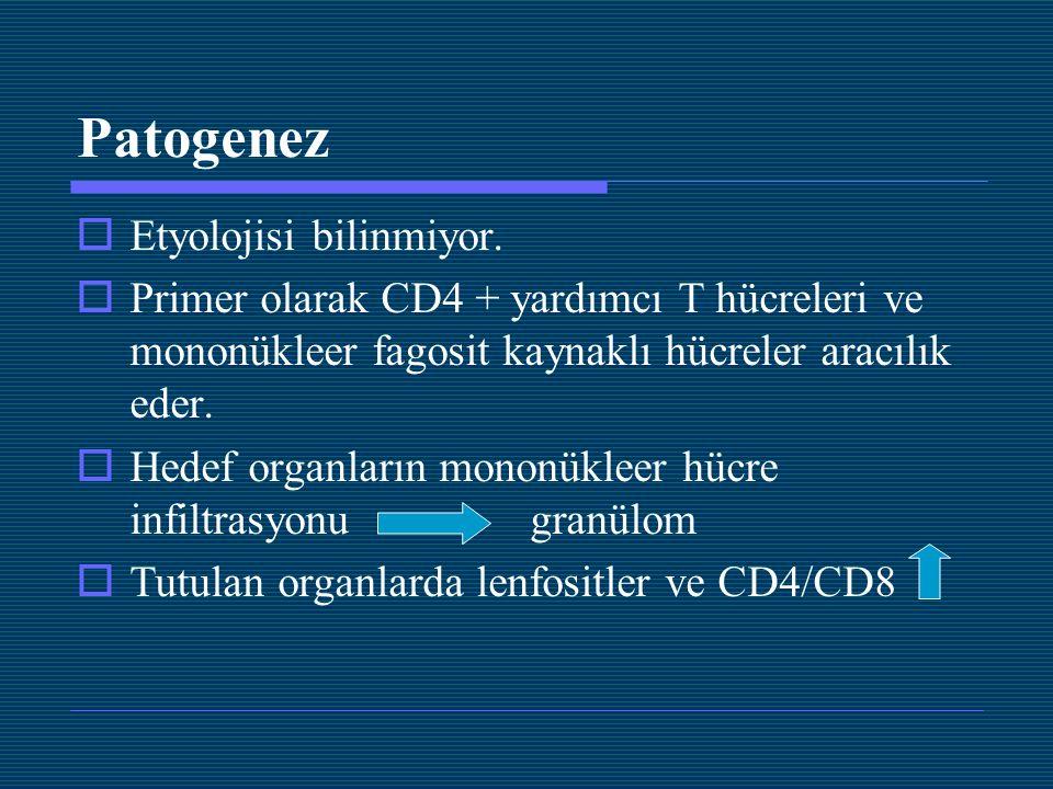 Patogenez  Etyolojisi bilinmiyor.  Primer olarak CD4 + yardımcı T hücreleri ve mononükleer fagosit kaynaklı hücreler aracılık eder.  Hedef organlar