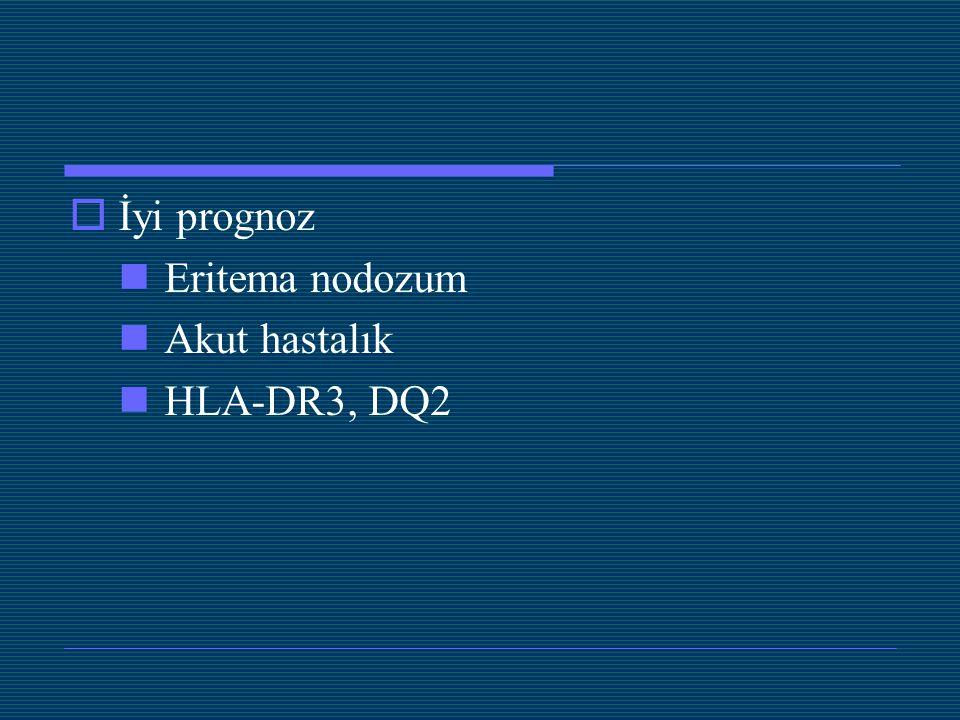  İyi prognoz Eritema nodozum Akut hastalık HLA-DR3, DQ2