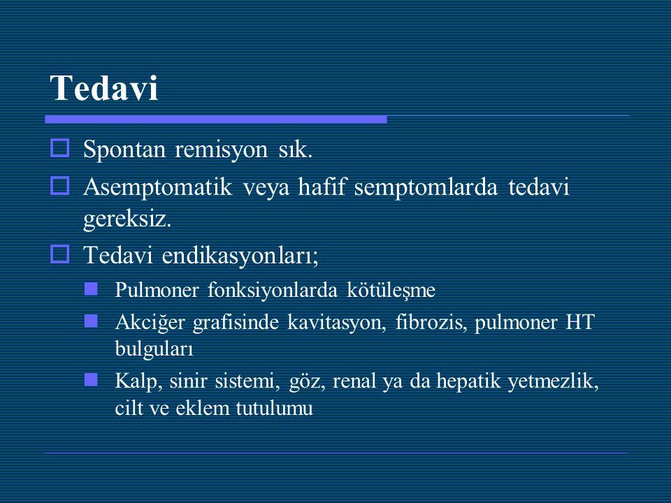 Tedavi  Spontan remisyon sık.  Asemptomatik veya hafif semptomlarda tedavi gereksiz.  Tedavi endikasyonları; Pulmoner fonksiyonlarda kötüleşme Akci