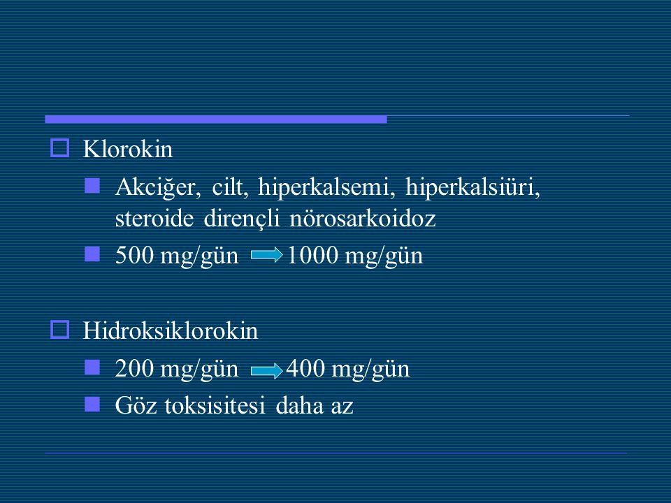  Klorokin Akciğer, cilt, hiperkalsemi, hiperkalsiüri, steroide dirençli nörosarkoidoz 500 mg/gün 1000 mg/gün  Hidroksiklorokin 200 mg/gün 400 mg/gün