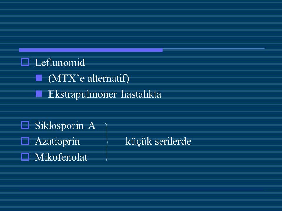  Leflunomid (MTX'e alternatif) Ekstrapulmoner hastalıkta  Siklosporin A  Azatioprin küçük serilerde  Mikofenolat