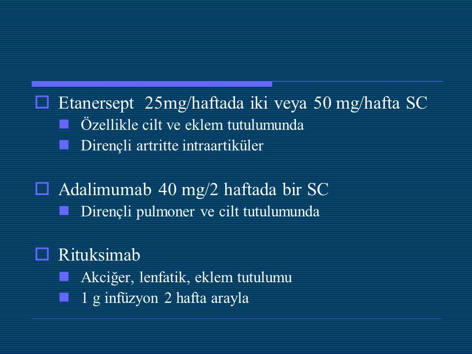  Etanersept 25mg/haftada iki veya 50 mg/hafta SC Özellikle cilt ve eklem tutulumunda Dirençli artritte intraartiküler  Adalimumab 40 mg/2 haftada bi