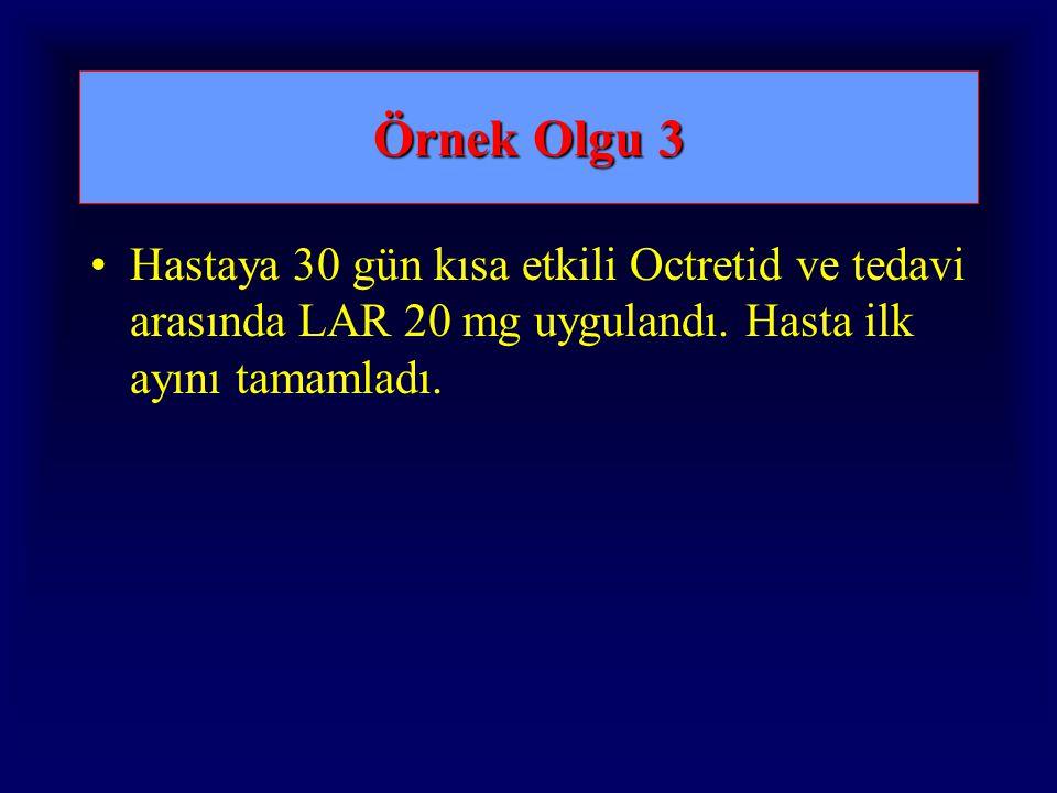 Örnek Olgu 3 Hastaya 30 gün kısa etkili Octretid ve tedavi arasında LAR 20 mg uygulandı. Hasta ilk ayını tamamladı.