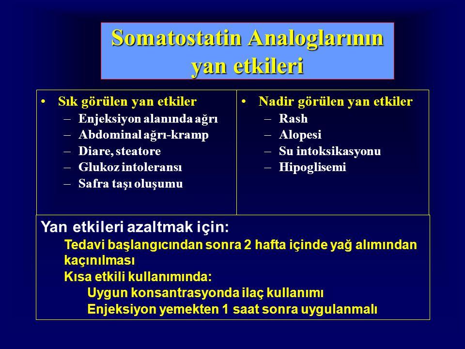 Somatostatin Analoglarının yan etkileri Sık görülen yan etkiler –Enjeksiyon alanında ağrı –Abdominal ağrı-kramp –Diare, steatore –Glukoz intoleransı –