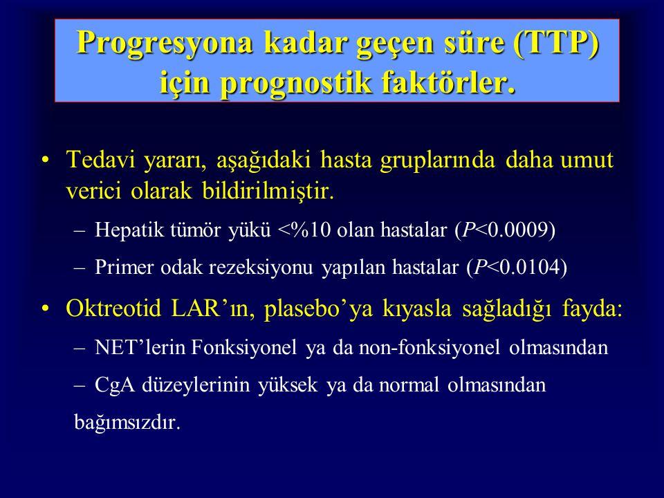 Progresyona kadar geçen süre (TTP) için prognostik faktörler. Tedavi yararı, aşağıdaki hasta gruplarında daha umut verici olarak bildirilmiştir. –Hepa