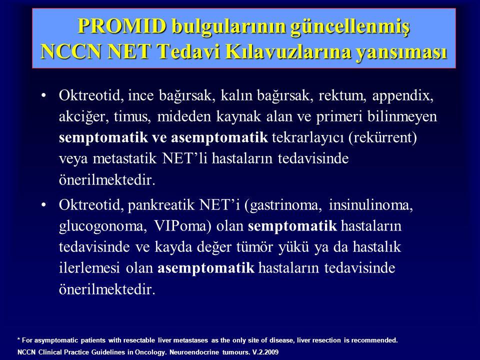 PROMID bulgularının güncellenmiş NCCN NET Tedavi Kılavuzlarına yansıması Oktreotid, ince bağırsak, kalın bağırsak, rektum, appendix, akciğer, timus, mideden kaynak alan ve primeri bilinmeyen semptomatik ve asemptomatik tekrarlayıcı (rekürrent) veya metastatik NET'li hastaların tedavisinde önerilmektedir.