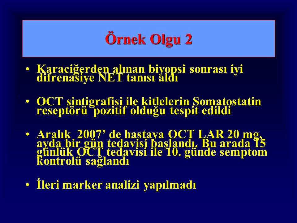 Örnek Olgu 2 Karaciğerden alınan biyopsi sonrası iyi difrenasiye NET tanısı aldı OCT sintigrafisi ile kitlelerin Somatostatin reseptörü pozitif olduğu tespit edildi Aralık 2007' de hastaya OCT LAR 20 mg, ayda bir gün tedavisi başlandı.