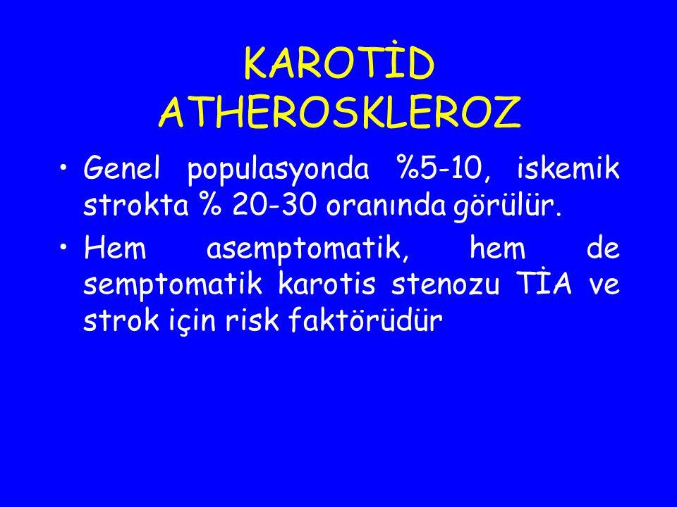 KAROTİD ATHEROSKLEROZ Genel populasyonda %5-10, iskemik strokta % 20-30 oranında görülür. Hem asemptomatik, hem de semptomatik karotis stenozu TİA ve