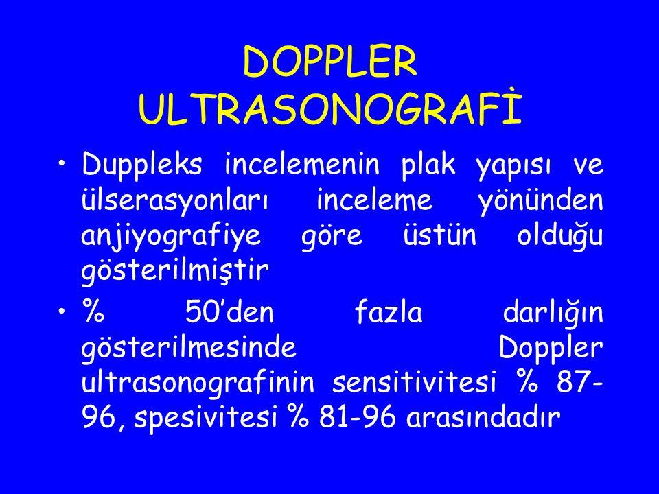 DOPPLER ULTRASONOGRAFİ Duppleks incelemenin plak yapısı ve ülserasyonları inceleme yönünden anjiyografiye göre üstün olduğu gösterilmiştir % 50'den fa