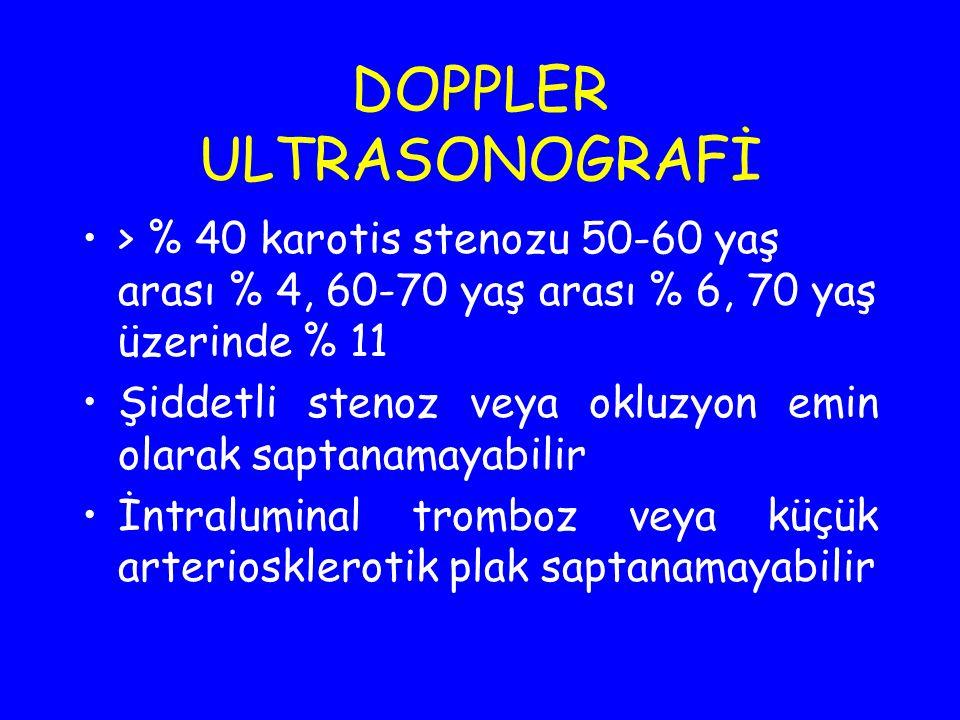 DOPPLER ULTRASONOGRAFİ > % 40 karotis stenozu 50-60 yaş arası % 4, 60-70 yaş arası % 6, 70 yaş üzerinde % 11 Şiddetli stenoz veya okluzyon emin olarak