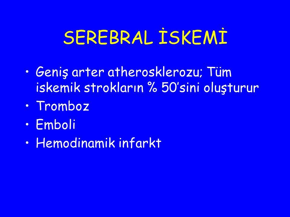 TROMBOTİK İNFARKT Atherosklerotik plağın fibröz kapsülünün çatlaması sonucu, açığa çıkan trombojenik yüzey sonucu intraluminal trombozis Damar oklüzyonu Serebral iskemi veya infarktüs