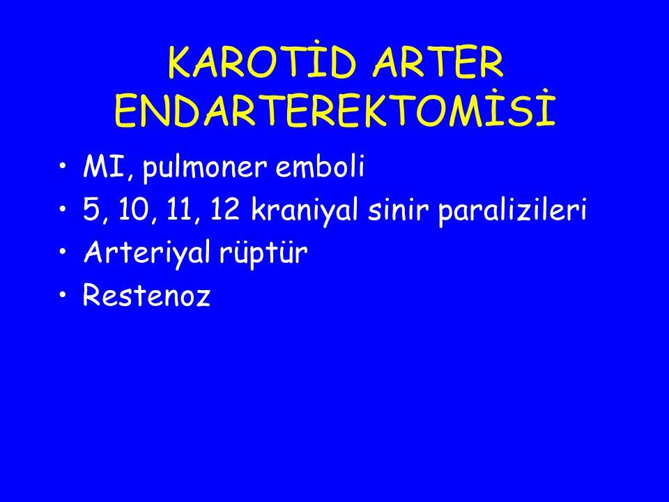 KAROTİD ARTER ENDARTEREKTOMİSİ MI, pulmoner emboli 5, 10, 11, 12 kraniyal sinir paralizileri Arteriyal rüptür Restenoz