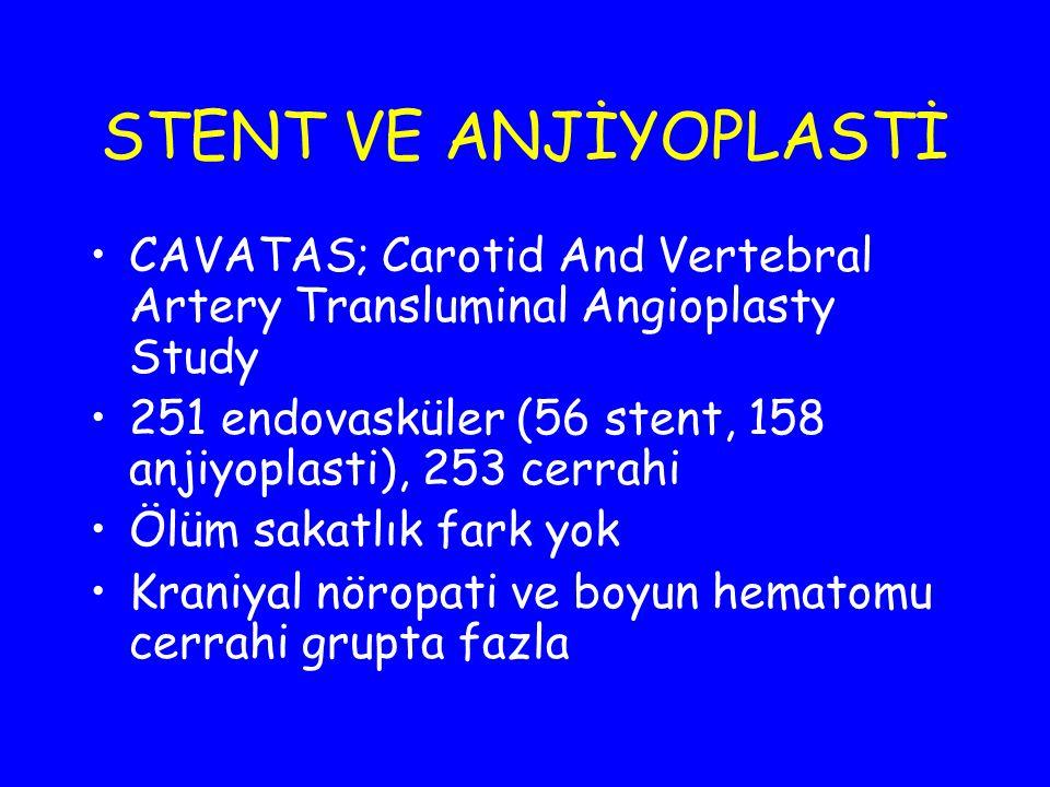 STENT VE ANJİYOPLASTİ CAVATAS; Carotid And Vertebral Artery Transluminal Angioplasty Study 251 endovasküler (56 stent, 158 anjiyoplasti), 253 cerrahi