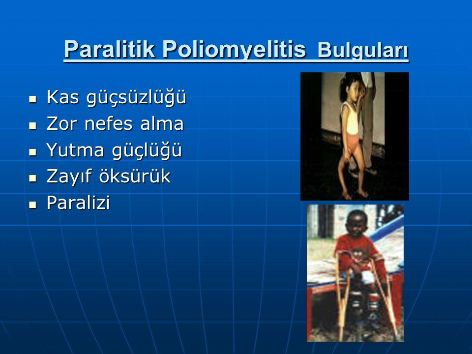 Paralitik Poliomyelitis Bulguları Kas güçsüzlüğü Kas güçsüzlüğü Zor nefes alma Zor nefes alma Yutma güçlüğü Yutma güçlüğü Zayıf öksürük Zayıf öksürük