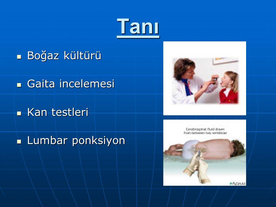 Tanı Boğaz kültürü Boğaz kültürü Gaita incelemesi Gaita incelemesi Kan testleri Kan testleri Lumbar ponksiyon Lumbar ponksiyon