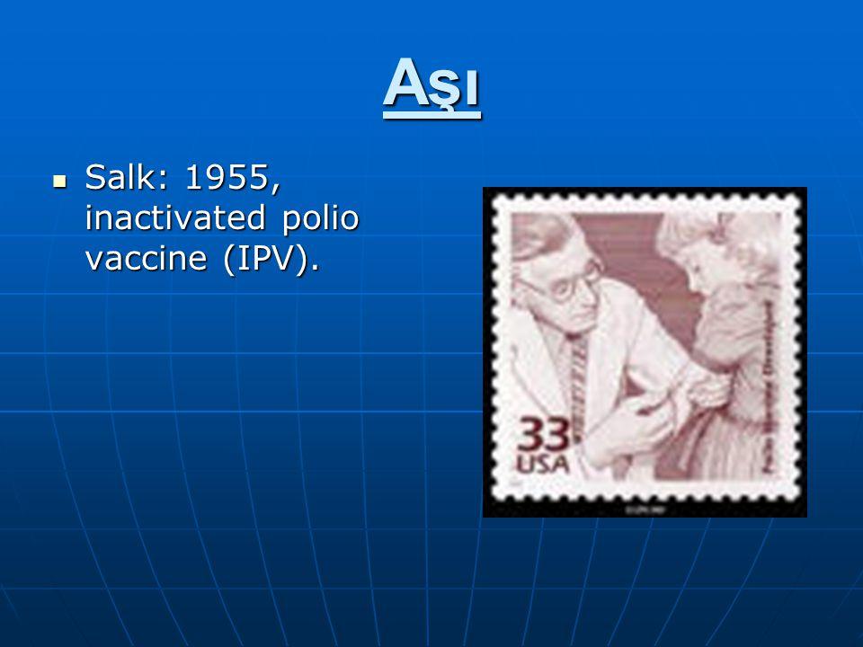 Aşı Salk: 1955, inactivated polio vaccine (IPV). Salk: 1955, inactivated polio vaccine (IPV).
