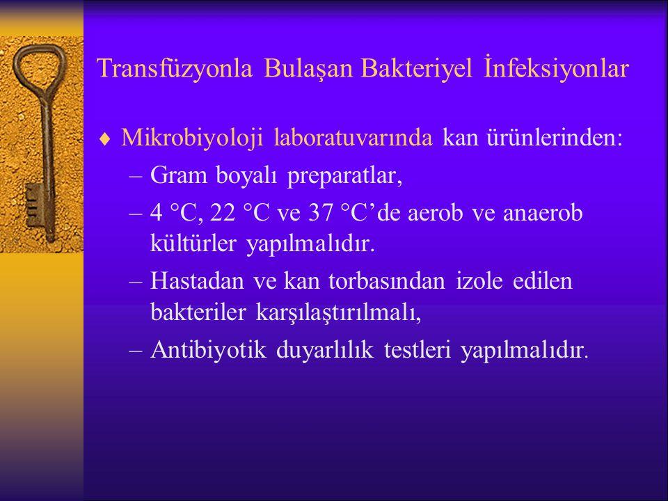 Transfüzyonla Bulaşan Bakteriyel İnfeksiyonlar  Mikrobiyoloji laboratuvarında kan ürünlerinden: –Gram boyalı preparatlar, –4  C, 22  C ve 37  C'de
