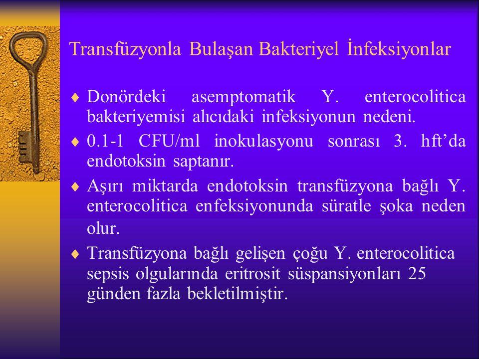 Transfüzyonla Bulaşan Bakteriyel İnfeksiyonlar  Donördeki asemptomatik Y. enterocolitica bakteriyemisi alıcıdaki infeksiyonun nedeni.  0.1-1 CFU/ml