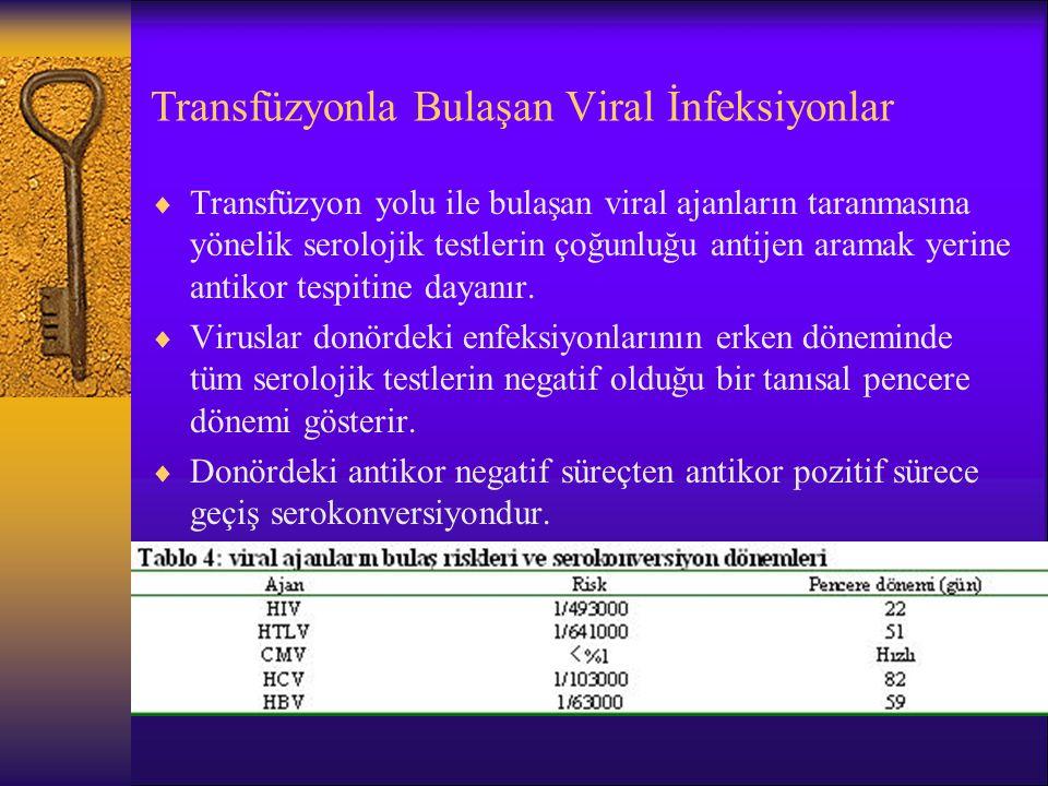 Transfüzyonla Bulaşan Viral İnfeksiyonlar  Transfüzyon yolu ile bulaşan viral ajanların taranmasına yönelik serolojik testlerin çoğunluğu antijen ara