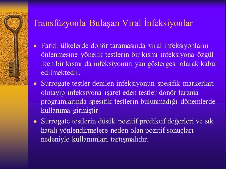 Transfüzyonla Bulaşan Viral İnfeksiyonlar  Farklı ülkelerde donör taramasında viral infeksiyonların önlenmesine yönelik testlerin bir kısmı infeksiyo
