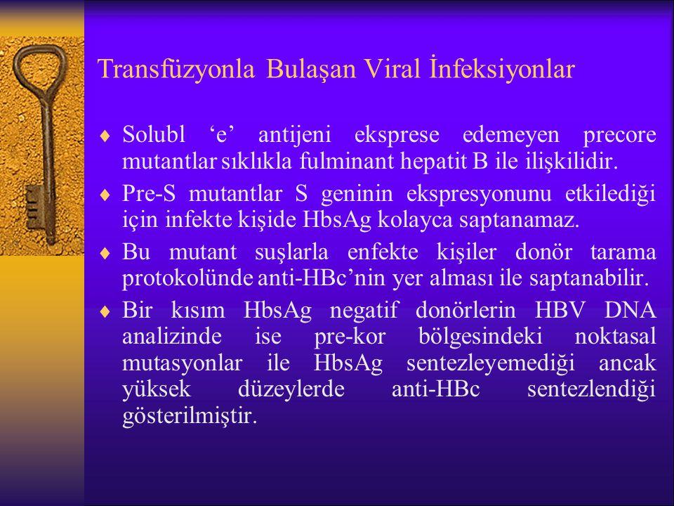 Transfüzyonla Bulaşan Viral İnfeksiyonlar  Solubl 'e' antijeni eksprese edemeyen precore mutantlar sıklıkla fulminant hepatit B ile ilişkilidir.  Pr