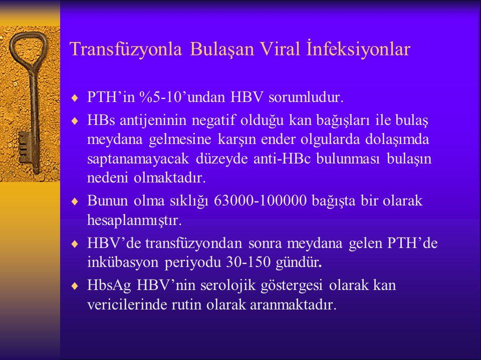 Transfüzyonla Bulaşan Viral İnfeksiyonlar  PTH'in %5-10'undan HBV sorumludur.  HBs antijeninin negatif olduğu kan bağışları ile bulaş meydana gelmes