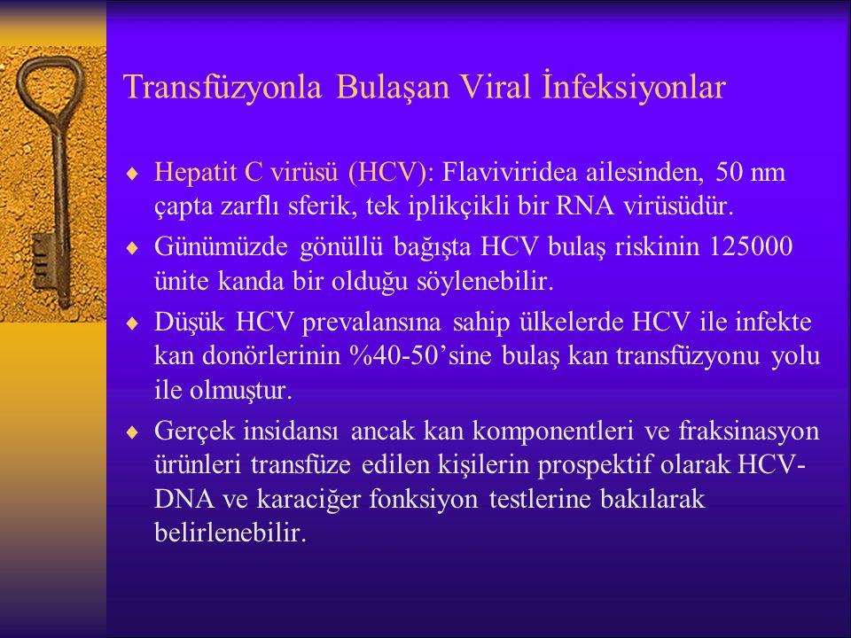 Transfüzyonla Bulaşan Viral İnfeksiyonlar  Hepatit C virüsü (HCV): Flaviviridea ailesinden, 50 nm çapta zarflı sferik, tek iplikçikli bir RNA virüsüd