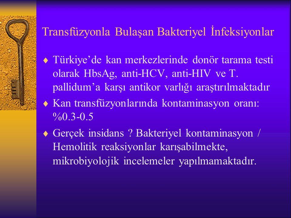 Transfüzyonla Bulaşan Bakteriyel İnfeksiyonlar  Türkiye'de kan merkezlerinde donör tarama testi olarak HbsAg, anti-HCV, anti-HIV ve T. pallidum'a kar