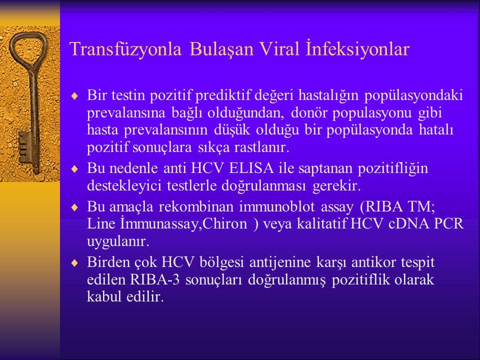 Transfüzyonla Bulaşan Viral İnfeksiyonlar  Bir testin pozitif prediktif değeri hastalığın popülasyondaki prevalansına bağlı olduğundan, donör populas
