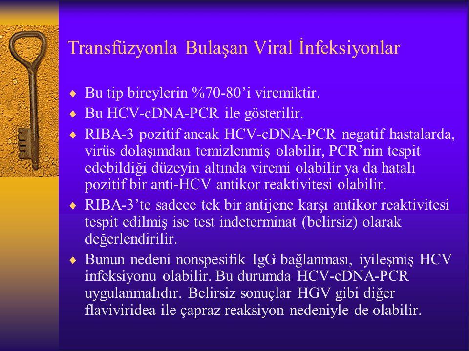 Transfüzyonla Bulaşan Viral İnfeksiyonlar  Bu tip bireylerin %70-80'i viremiktir.  Bu HCV-cDNA-PCR ile gösterilir.  RIBA-3 pozitif ancak HCV-cDNA-P