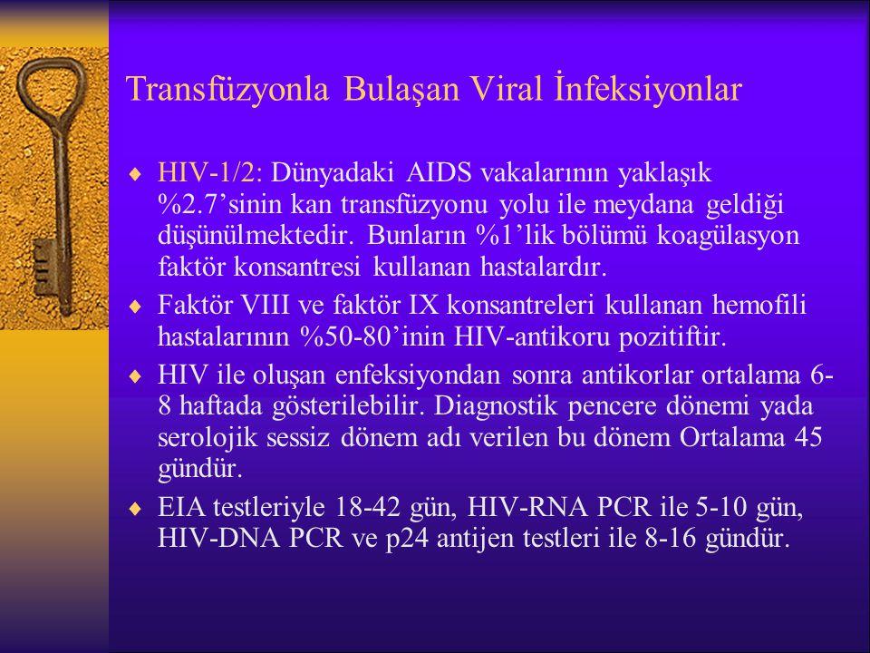 Transfüzyonla Bulaşan Viral İnfeksiyonlar  HIV-1/2: Dünyadaki AIDS vakalarının yaklaşık %2.7'sinin kan transfüzyonu yolu ile meydana geldiği düşünülm