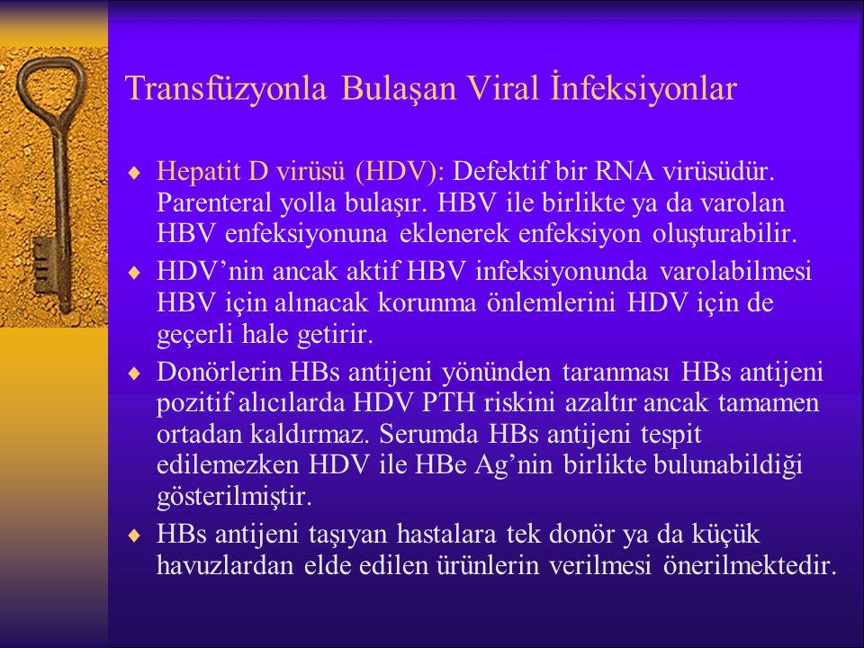 Transfüzyonla Bulaşan Viral İnfeksiyonlar  Hepatit D virüsü (HDV): Defektif bir RNA virüsüdür. Parenteral yolla bulaşır. HBV ile birlikte ya da varol