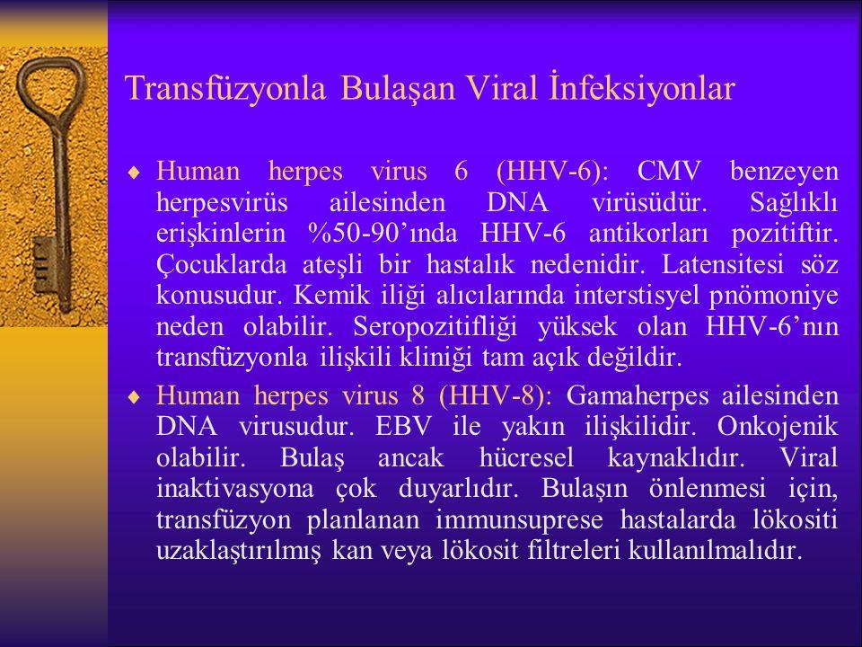 Transfüzyonla Bulaşan Viral İnfeksiyonlar  Human herpes virus 6 (HHV-6): CMV benzeyen herpesvirüs ailesinden DNA virüsüdür. Sağlıklı erişkinlerin %50