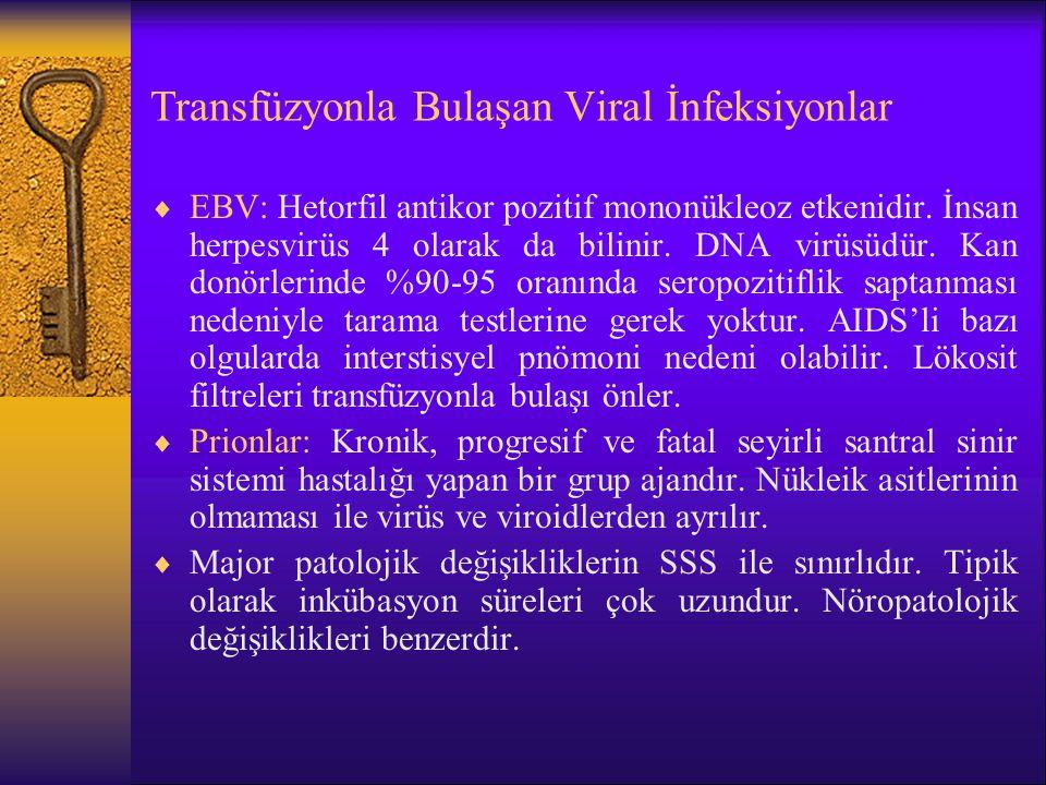 Transfüzyonla Bulaşan Viral İnfeksiyonlar  EBV: Hetorfil antikor pozitif mononükleoz etkenidir. İnsan herpesvirüs 4 olarak da bilinir. DNA virüsüdür.