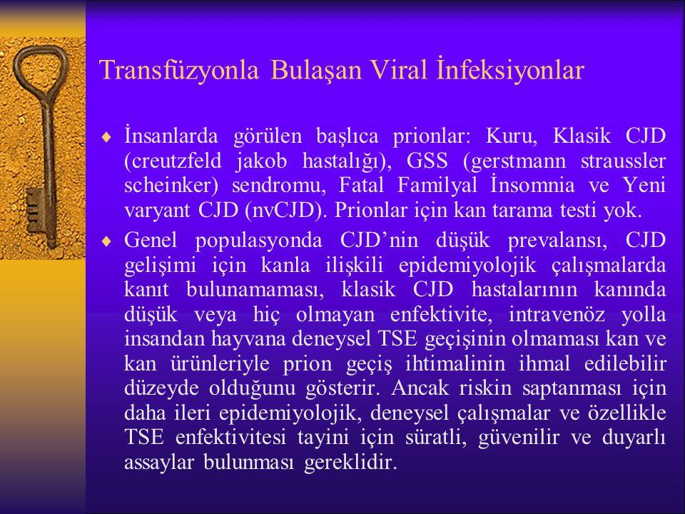 Transfüzyonla Bulaşan Viral İnfeksiyonlar  İnsanlarda görülen başlıca prionlar: Kuru, Klasik CJD (creutzfeld jakob hastalığı), GSS (gerstmann strauss