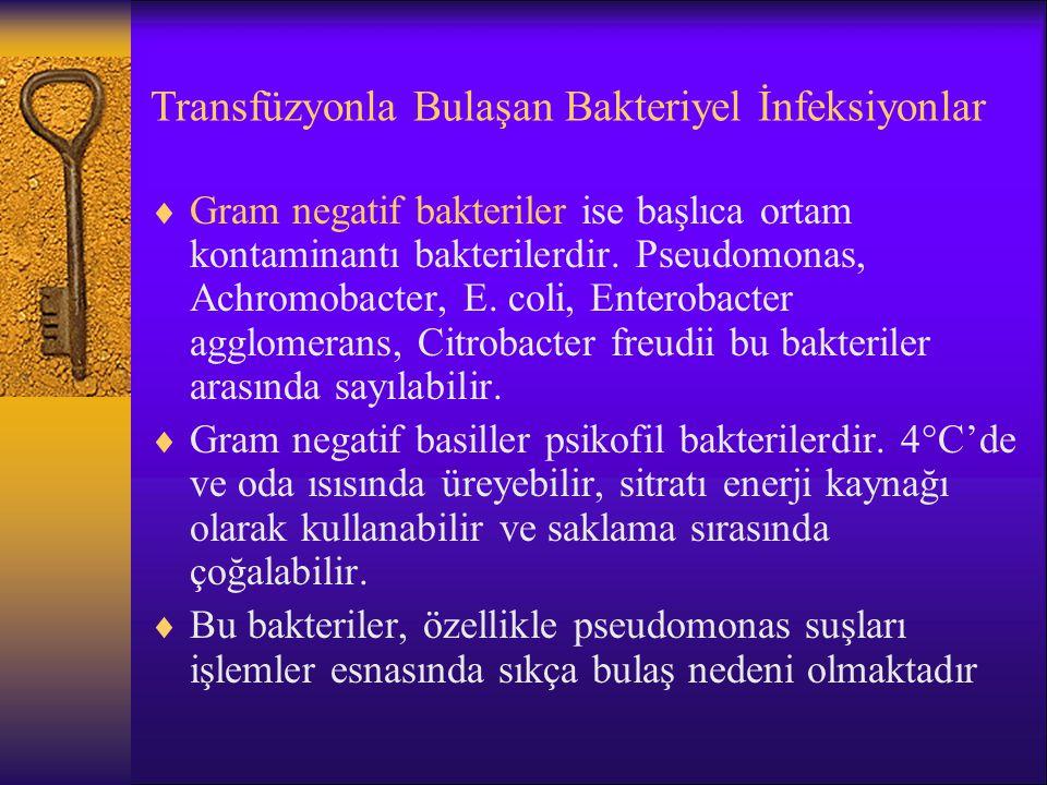 Transfüzyonla Bulaşan Bakteriyel İnfeksiyonlar  Gram negatif bakteriler ise başlıca ortam kontaminantı bakterilerdir. Pseudomonas, Achromobacter, E.